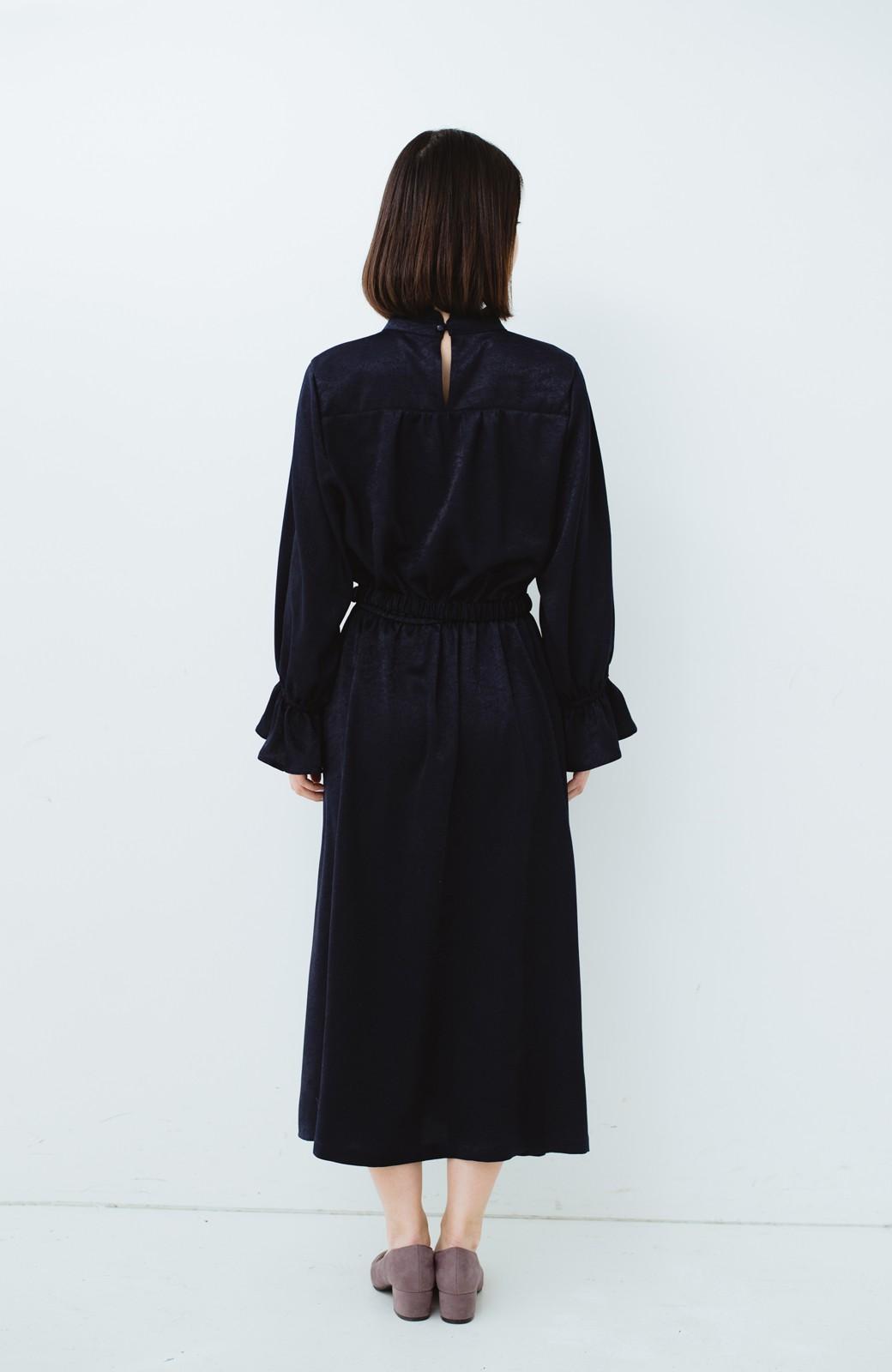 haco! スタンドカラーの女っぽベルト付きワンピース <ネイビー>の商品写真14