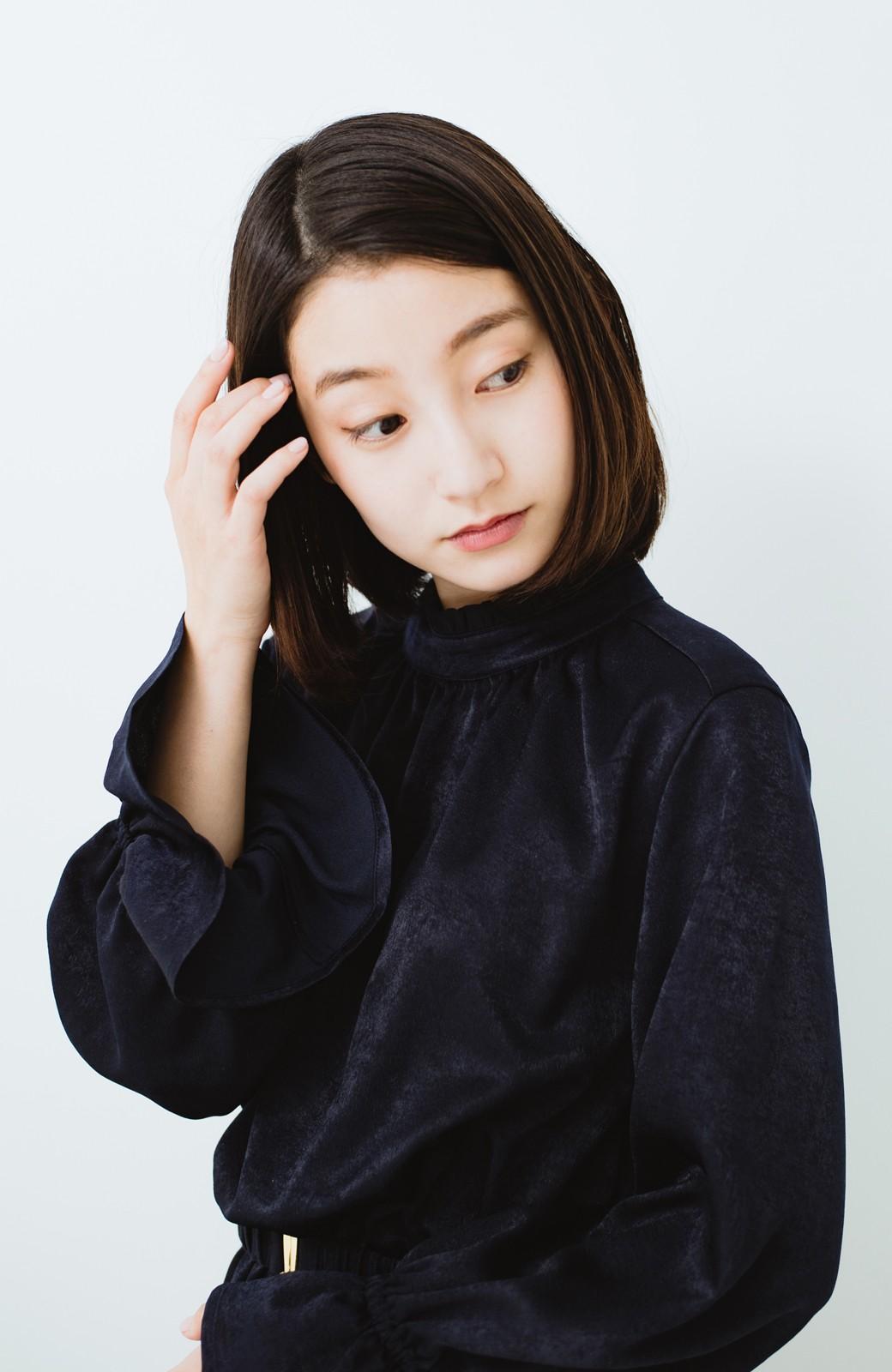 haco! スタンドカラーの女っぽベルト付きワンピース <ネイビー>の商品写真16