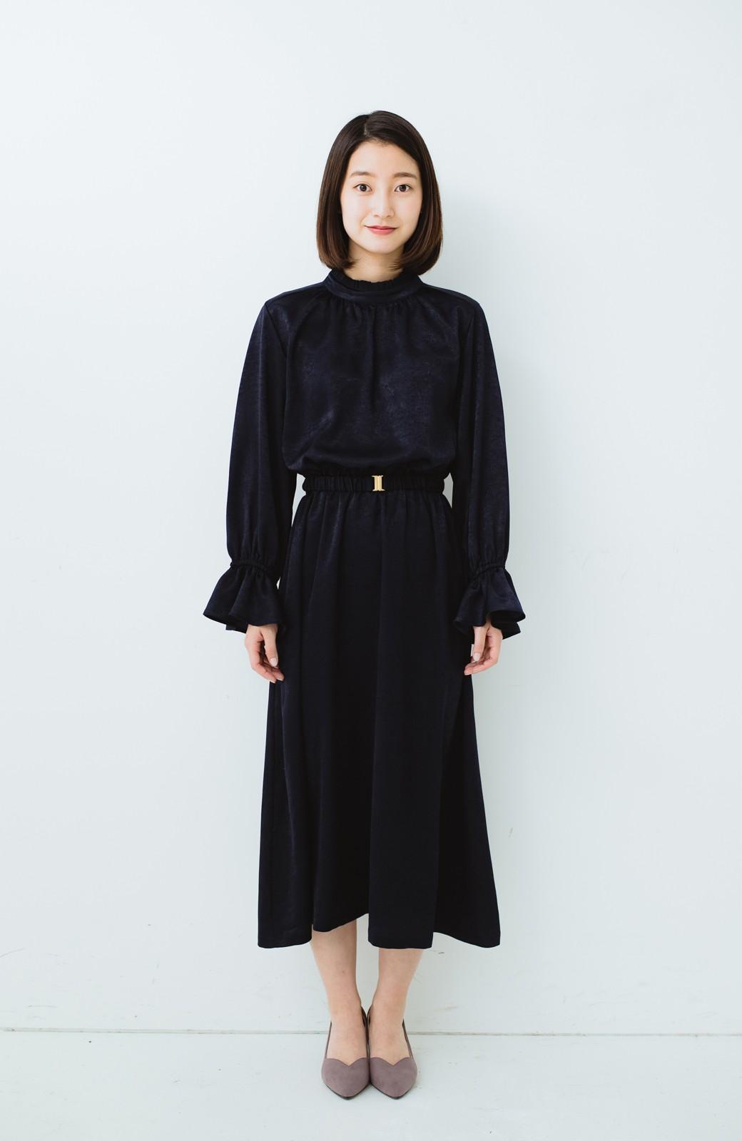 haco! スタンドカラーの女っぽベルト付きワンピース <ネイビー>の商品写真9