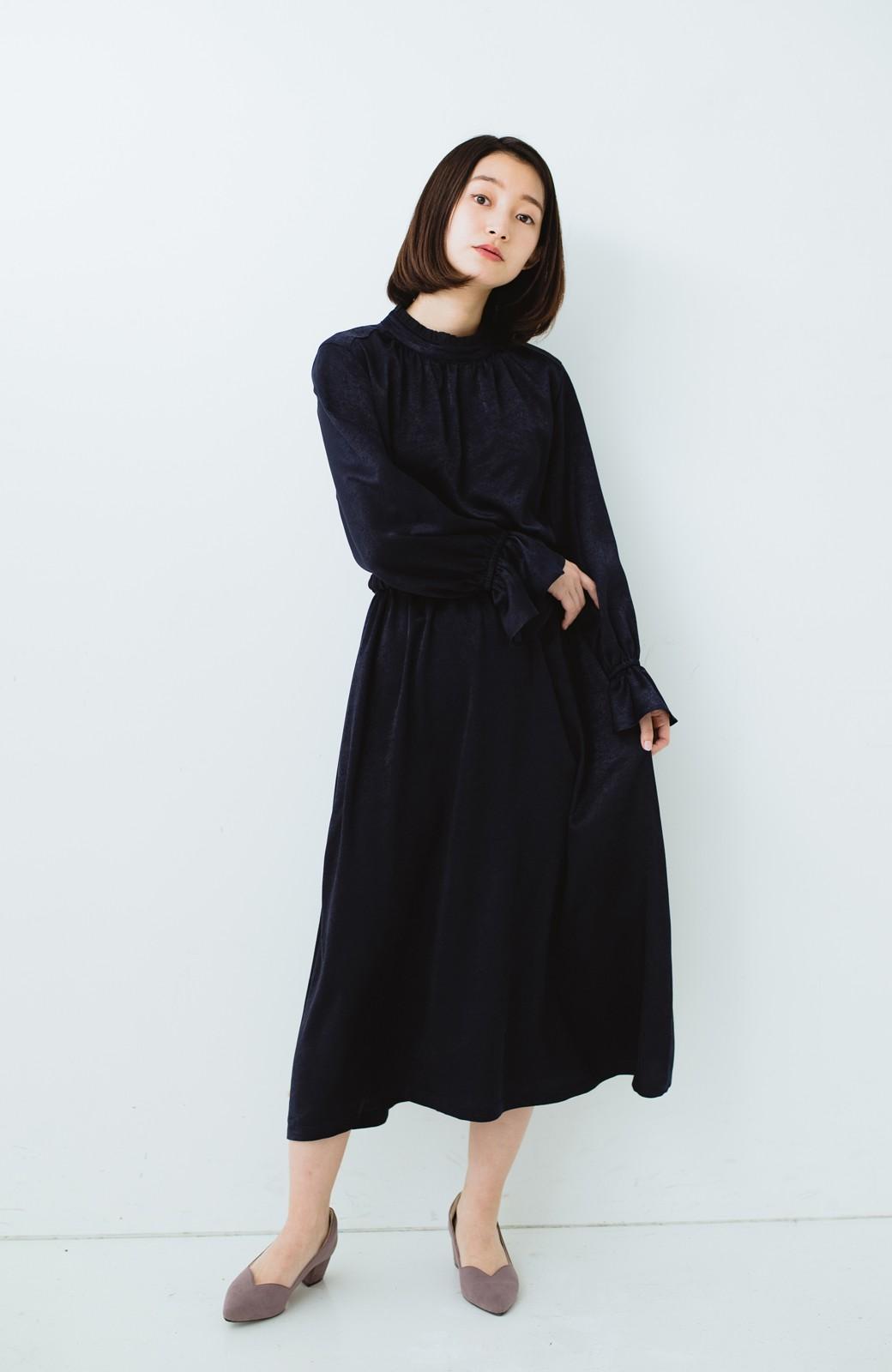 haco! スタンドカラーの女っぽベルト付きワンピース <ネイビー>の商品写真10