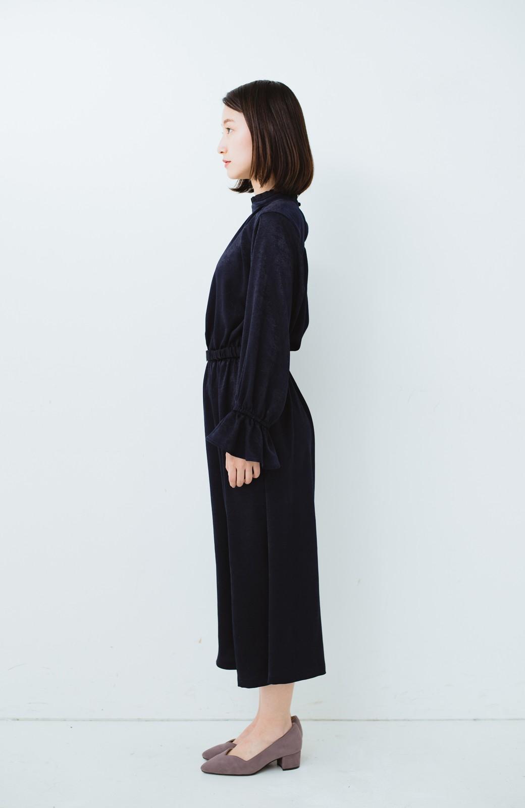 haco! スタンドカラーの女っぽベルト付きワンピース <ネイビー>の商品写真12