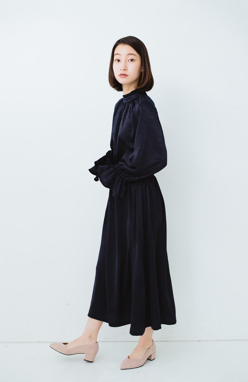 haco! スタンドカラーの女っぽベルト付きワンピース <ネイビー>の商品写真13