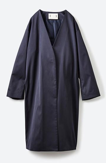 haco! きれいめに着こなしたいときに便利なノーカラーコート <ネイビー>の商品写真