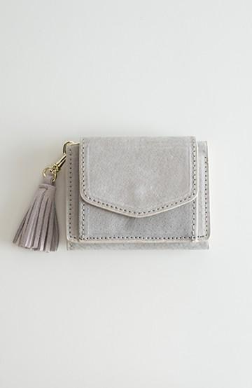 haco! Legato Largo ピッグスエード 三つ折りミニ財布 <ライトグレー>の商品写真