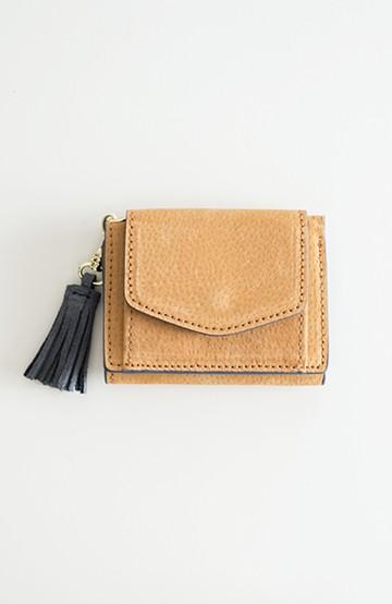 haco! Legato Largo ピッグスエード 三つ折りミニ財布 <キャメル>の商品写真
