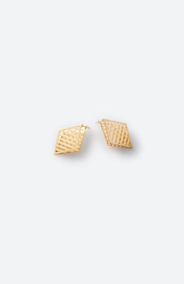 haco! てとひとて januka ゴールド3Dピアス(メッシュダイヤモンド)L <ゴールド>の商品写真