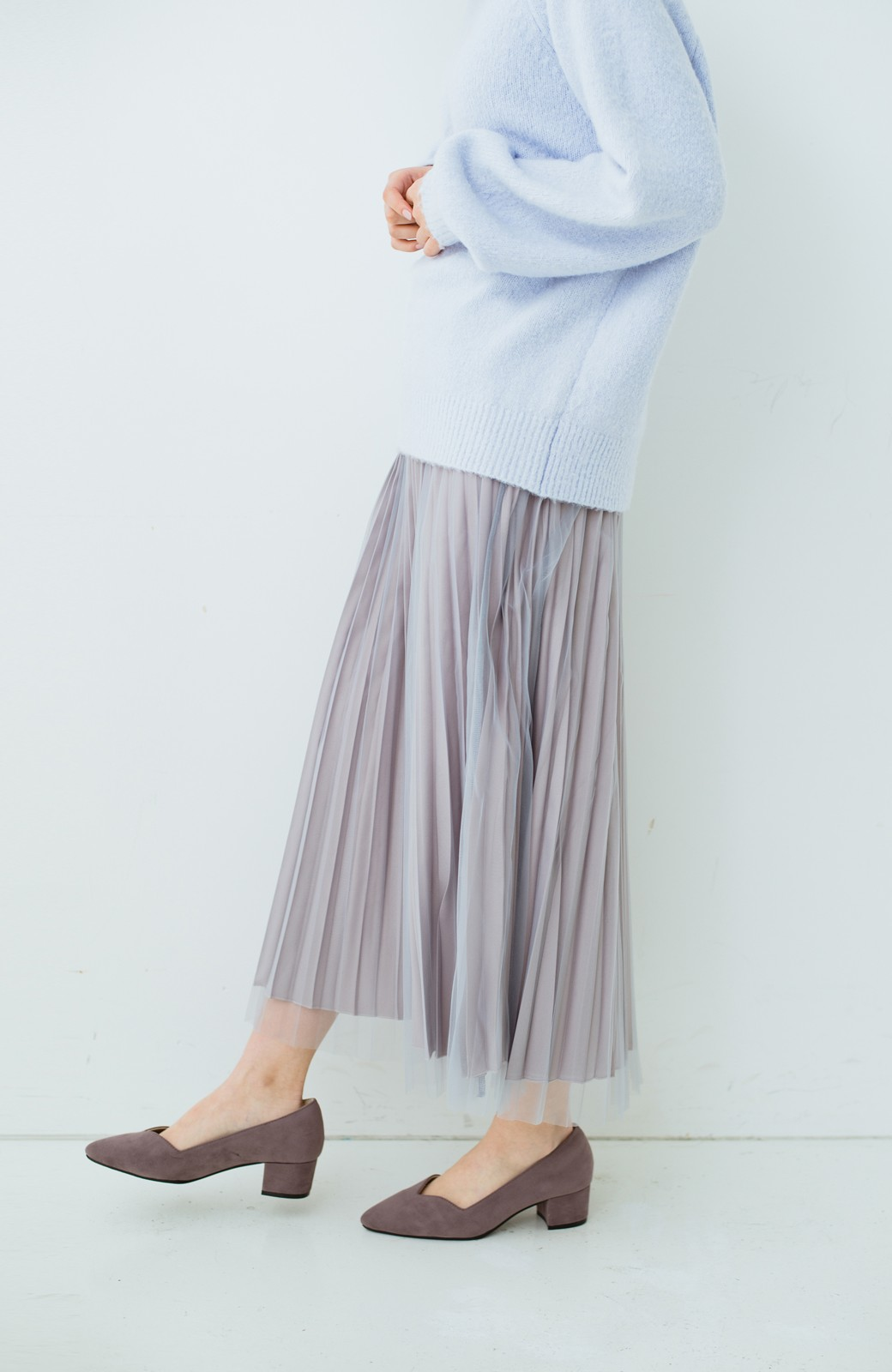 haco! どんな日も華やか気分にしてくれる 二枚仕立てのチュールプリーツスカート <ライトグレー>の商品写真8