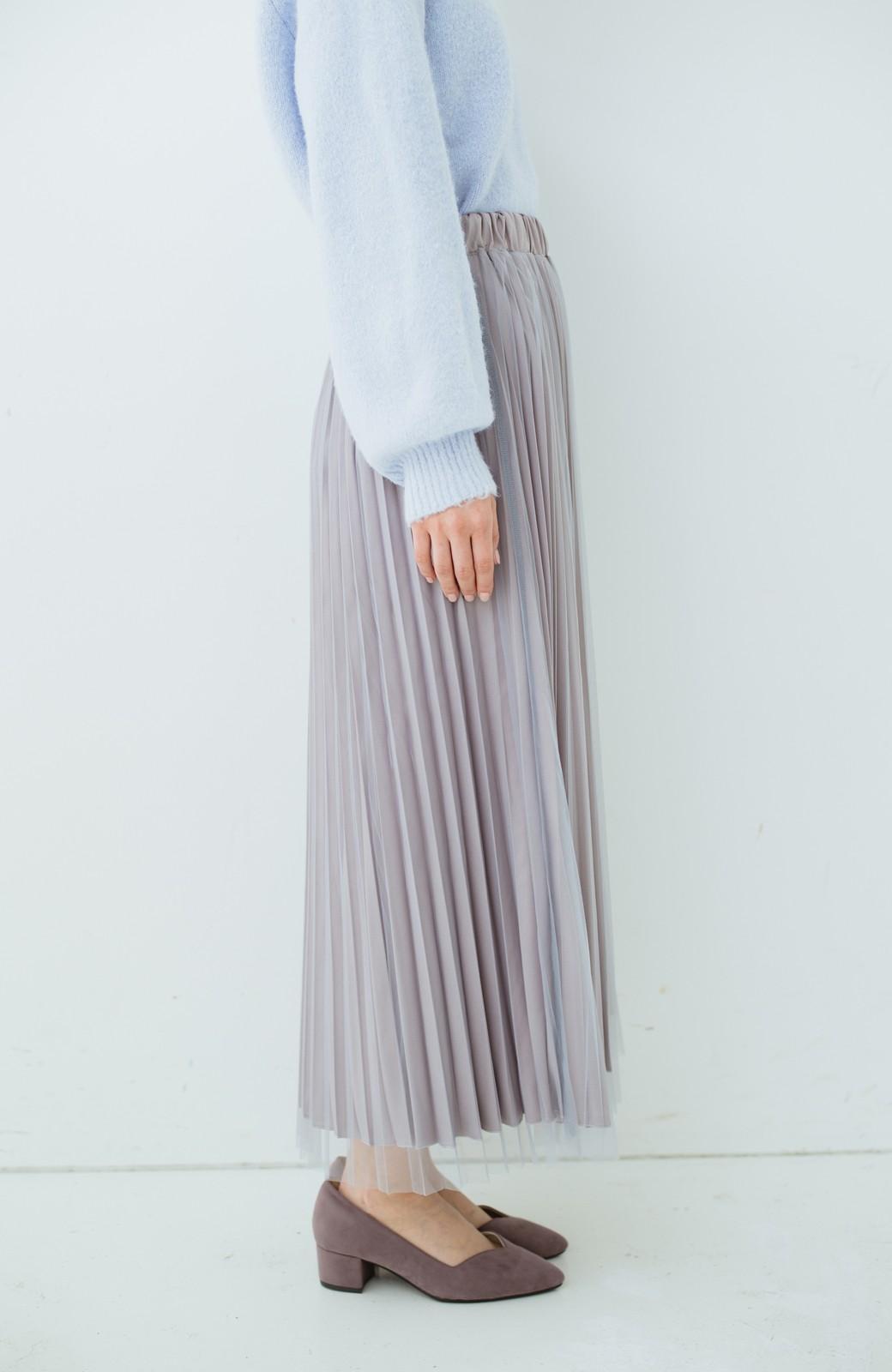 haco! どんな日も華やか気分にしてくれる 二枚仕立てのチュールプリーツスカート <ライトグレー>の商品写真5