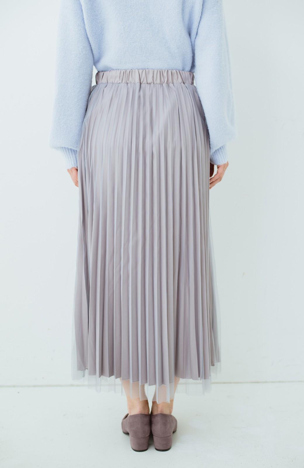 haco! どんな日も華やか気分にしてくれる 二枚仕立てのチュールプリーツスカート <ライトグレー>の商品写真6