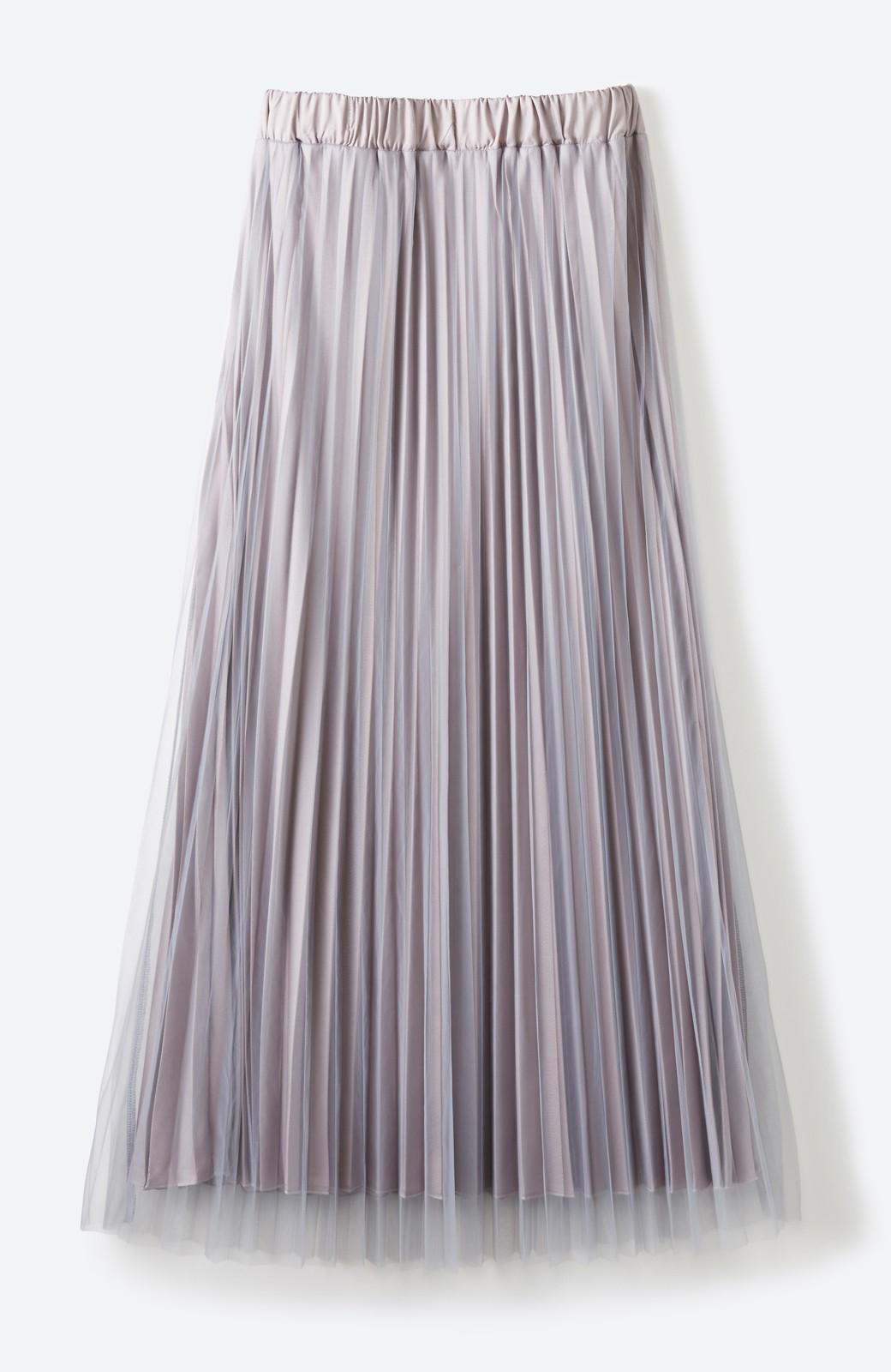 haco! どんな日も華やか気分にしてくれる 二枚仕立てのチュールプリーツスカート <ライトグレー>の商品写真1
