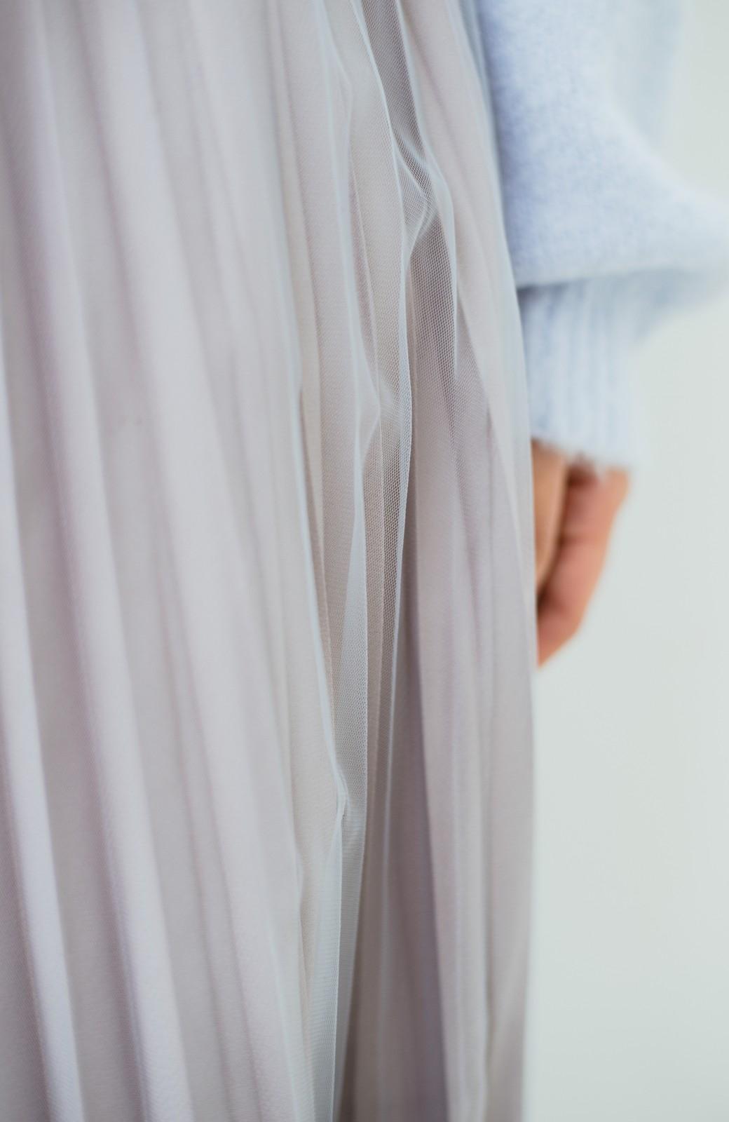 haco! どんな日も華やか気分にしてくれる 二枚仕立てのチュールプリーツスカート <ライトグレー>の商品写真2