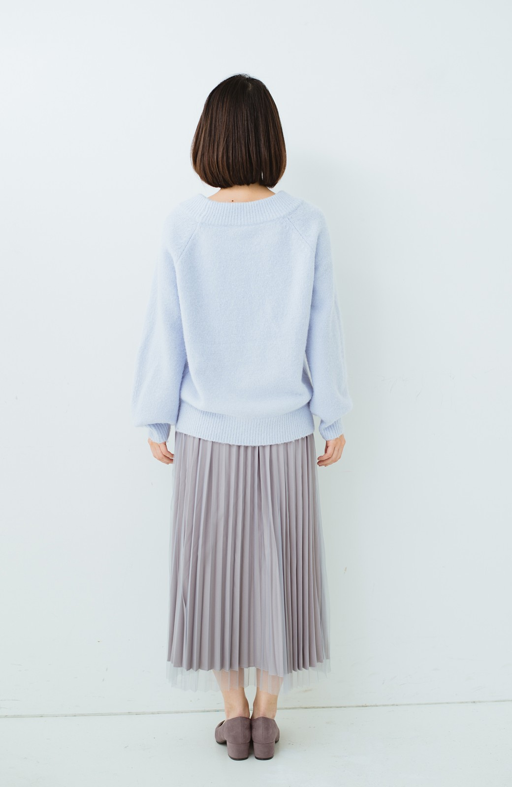 haco! どんな日も華やか気分にしてくれる 二枚仕立てのチュールプリーツスカート <ライトグレー>の商品写真23