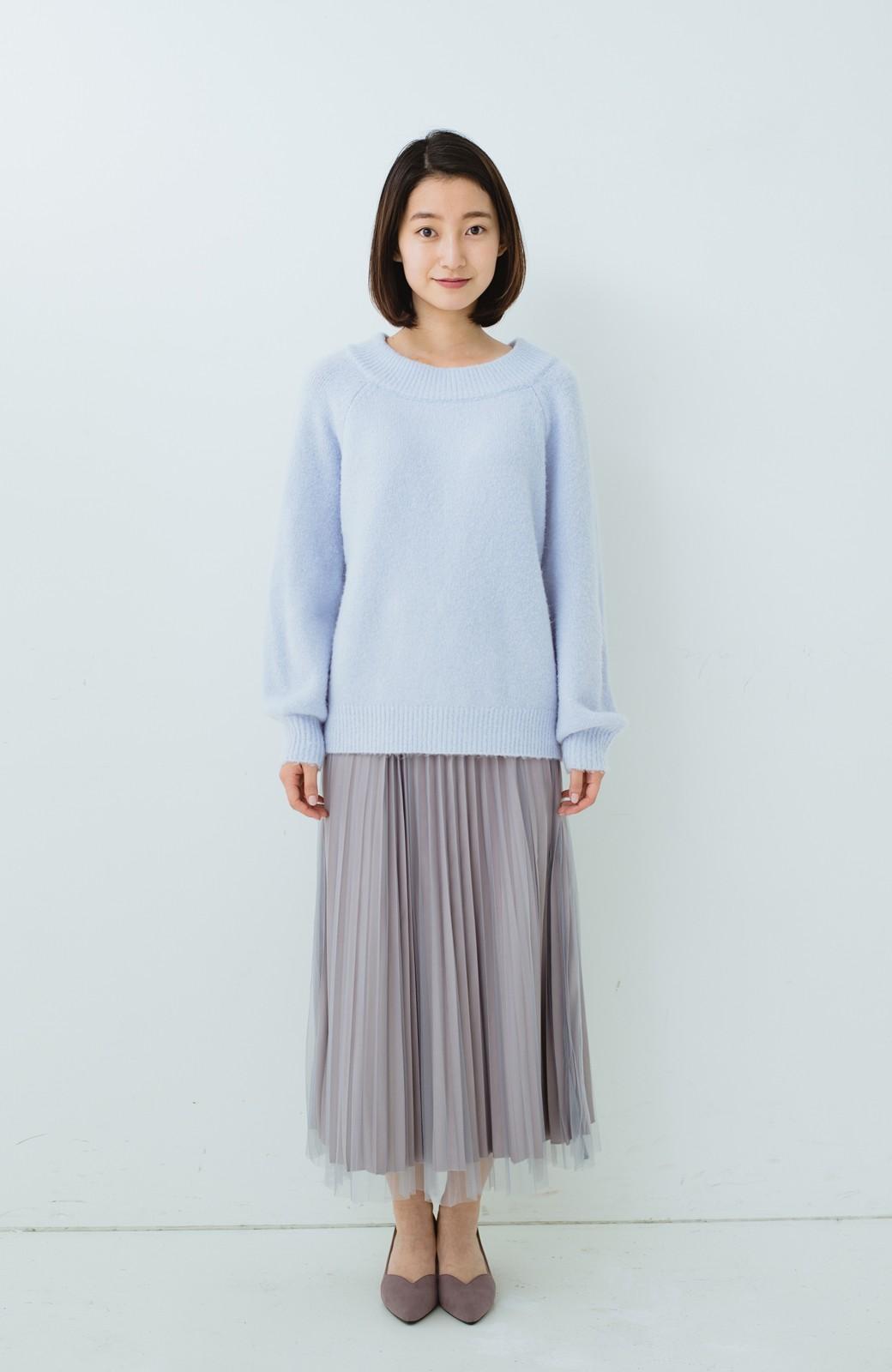haco! どんな日も華やか気分にしてくれる 二枚仕立てのチュールプリーツスカート <ライトグレー>の商品写真9