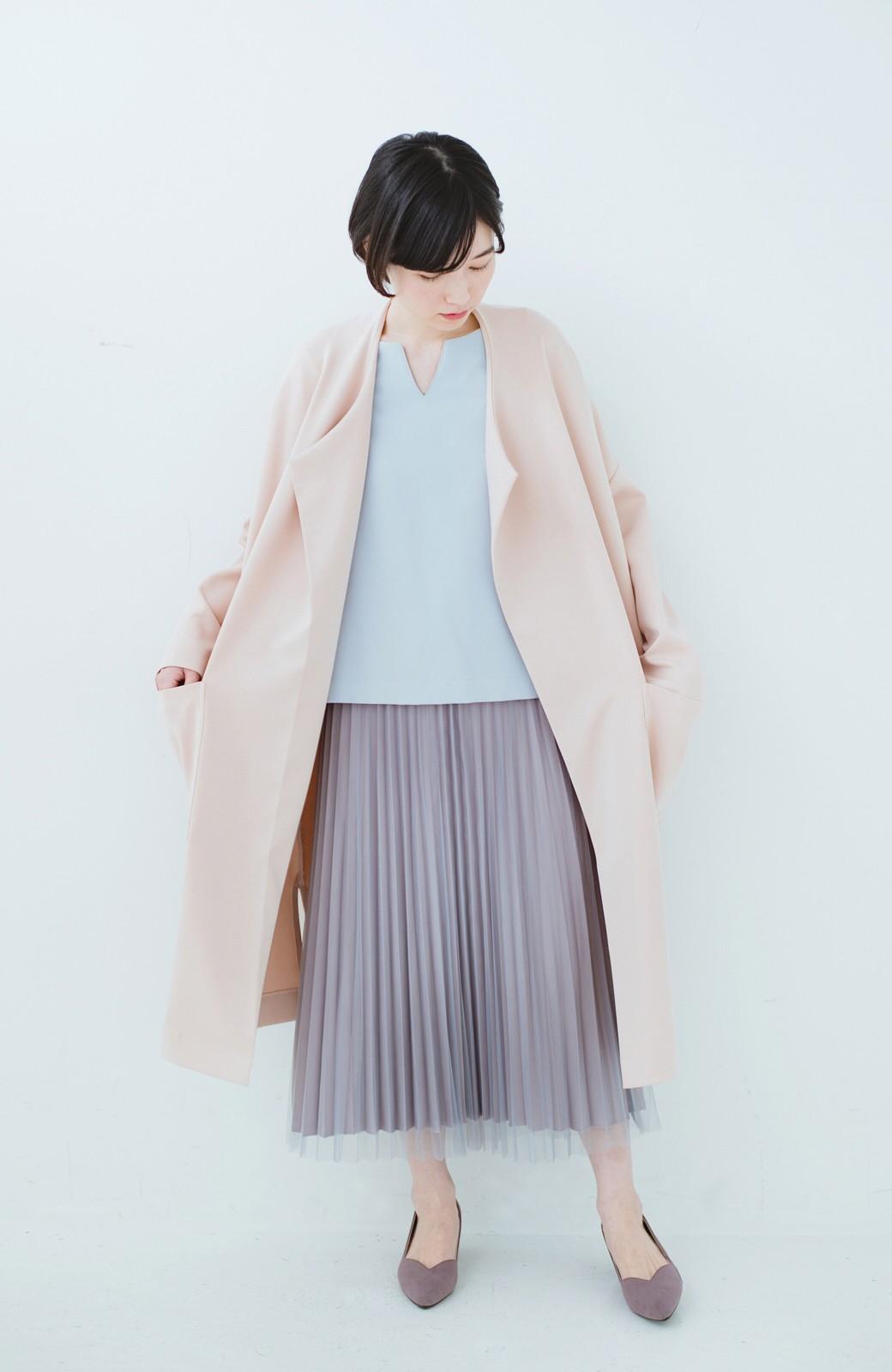 haco! どんな日も華やか気分にしてくれる 二枚仕立てのチュールプリーツスカート <ライトグレー>の商品写真19