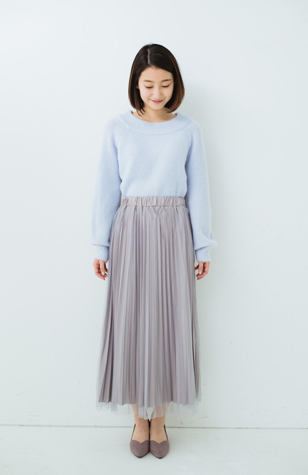 haco! どんな日も華やか気分にしてくれる 二枚仕立てのチュールプリーツスカート <ライトグレー>の商品写真10