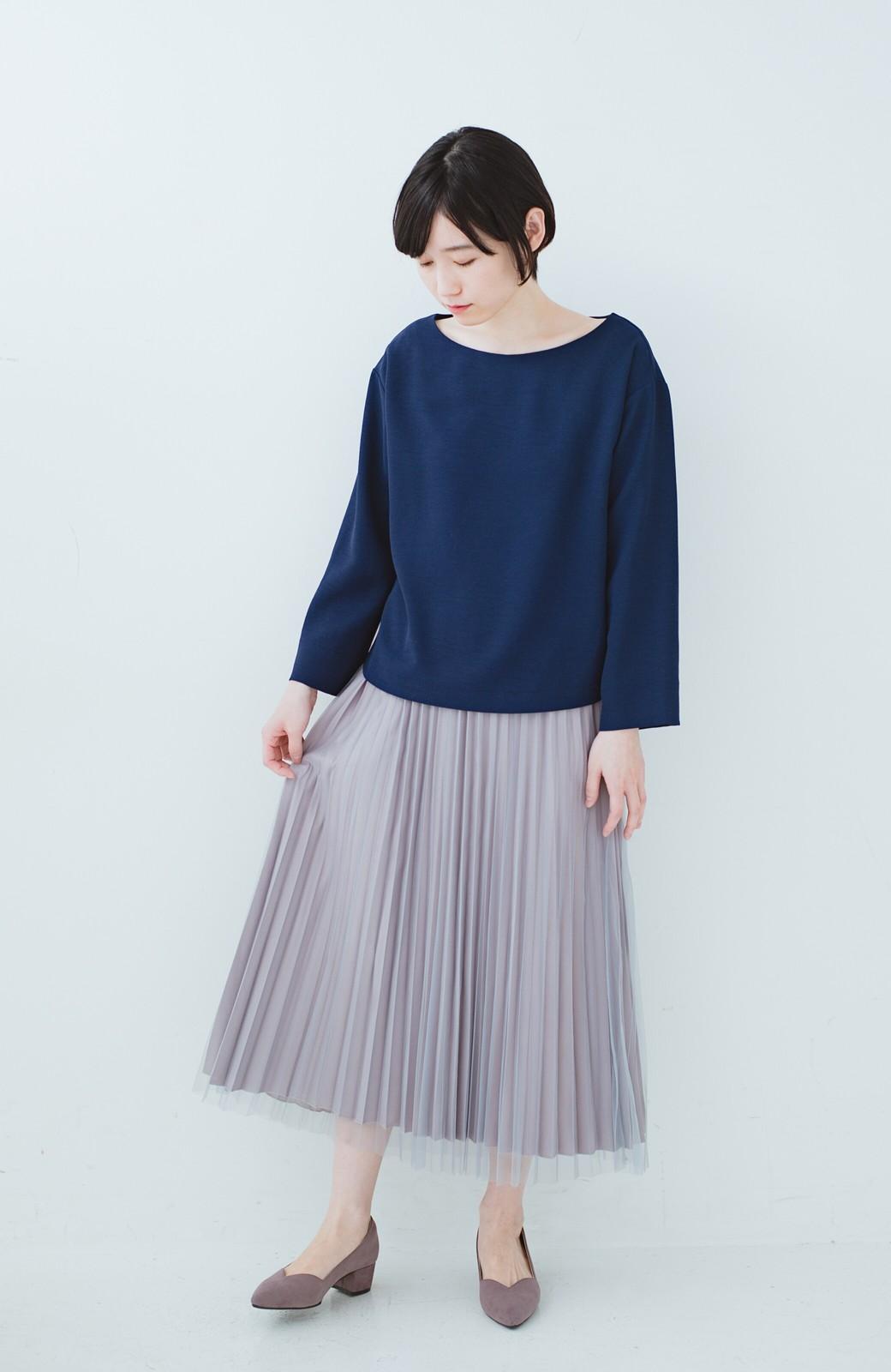 haco! どんな日も華やか気分にしてくれる 二枚仕立てのチュールプリーツスカート <ライトグレー>の商品写真11