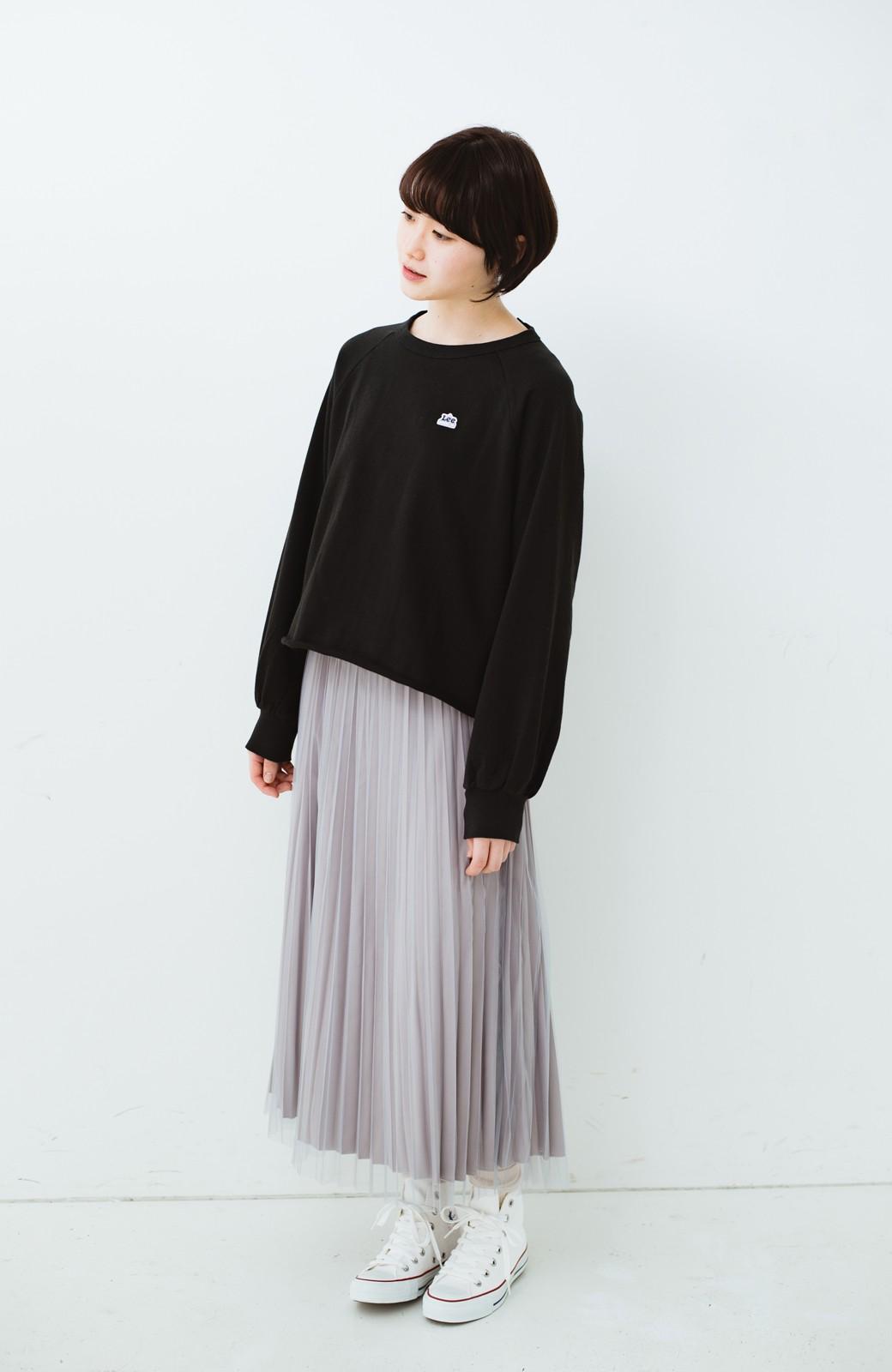 haco! どんな日も華やか気分にしてくれる 二枚仕立てのチュールプリーツスカート <ライトグレー>の商品写真12