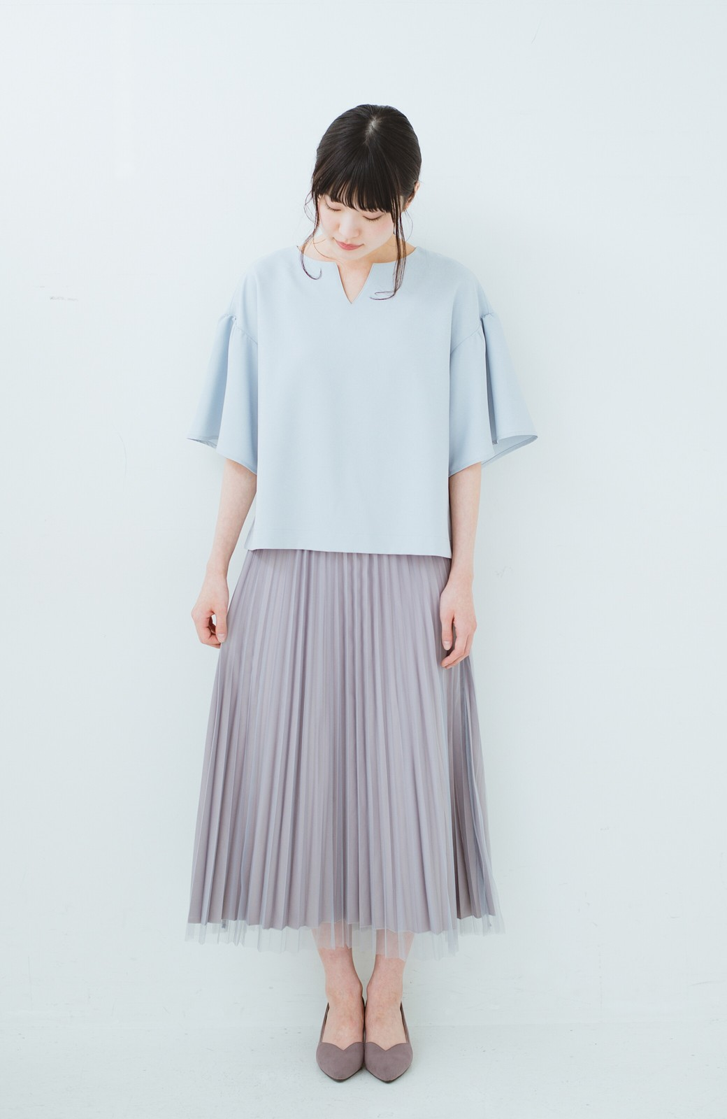 haco! どんな日も華やか気分にしてくれる 二枚仕立てのチュールプリーツスカート <ライトグレー>の商品写真13