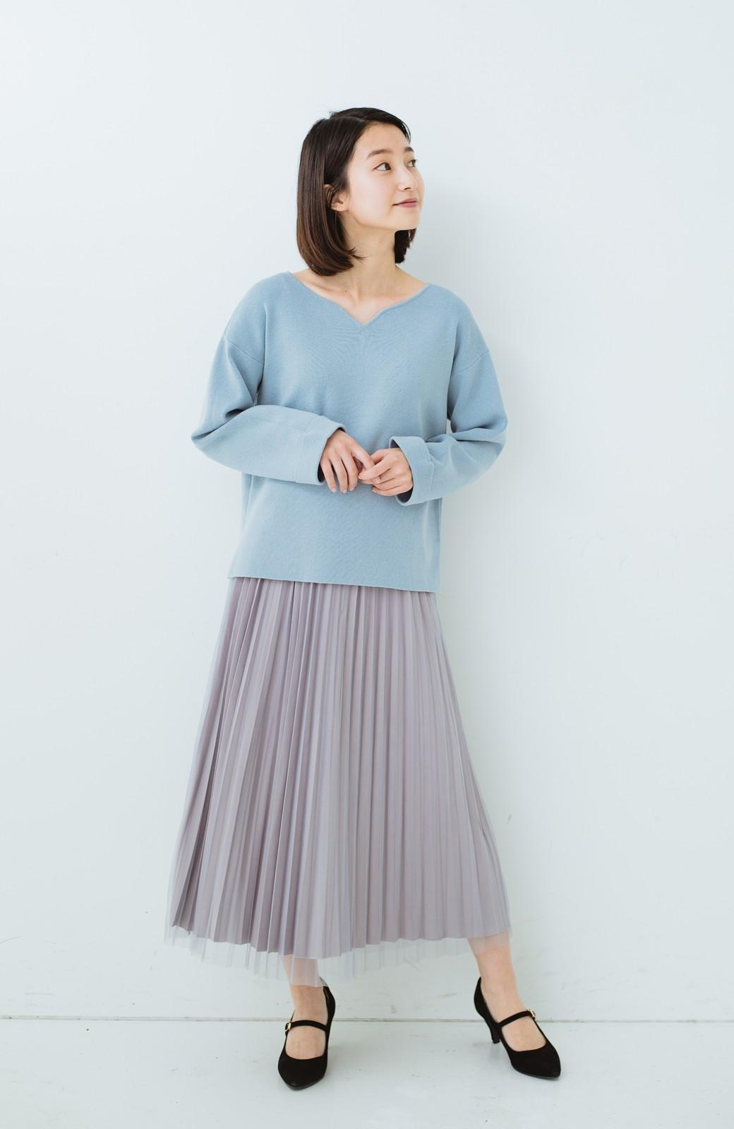haco! どんな日も華やか気分にしてくれる 二枚仕立てのチュールプリーツスカート <ライトグレー>の商品写真14