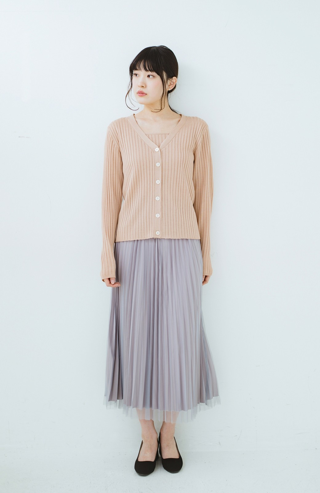 haco! どんな日も華やか気分にしてくれる 二枚仕立てのチュールプリーツスカート <ライトグレー>の商品写真15