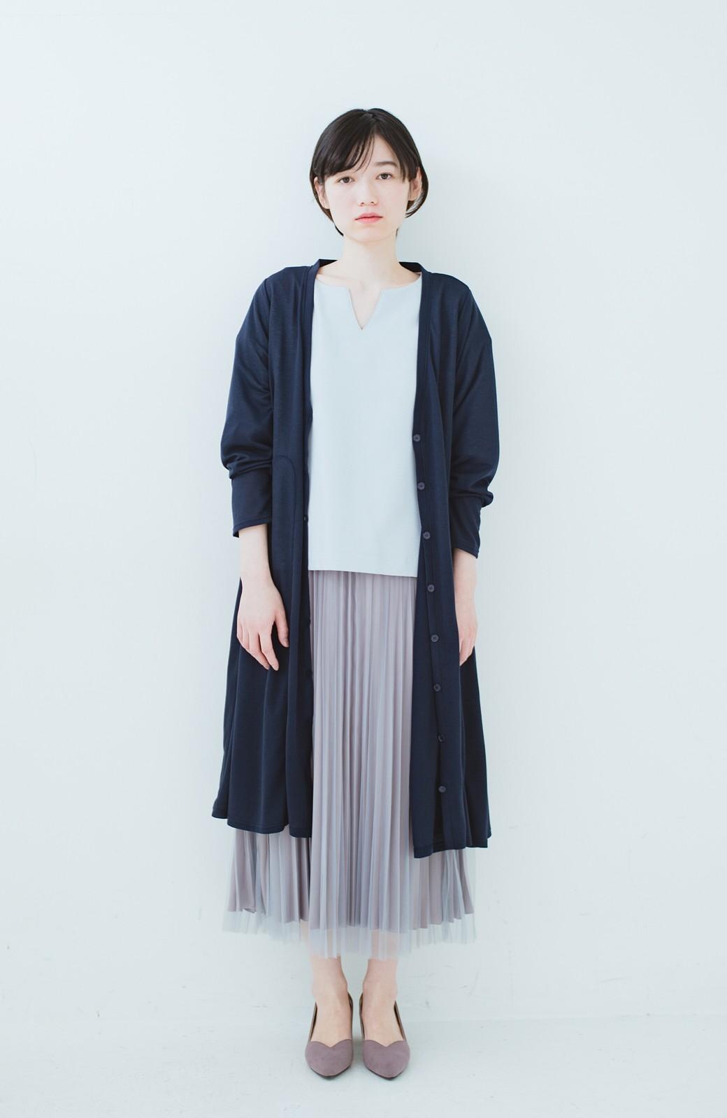 haco! どんな日も華やか気分にしてくれる 二枚仕立てのチュールプリーツスカート <ライトグレー>の商品写真16