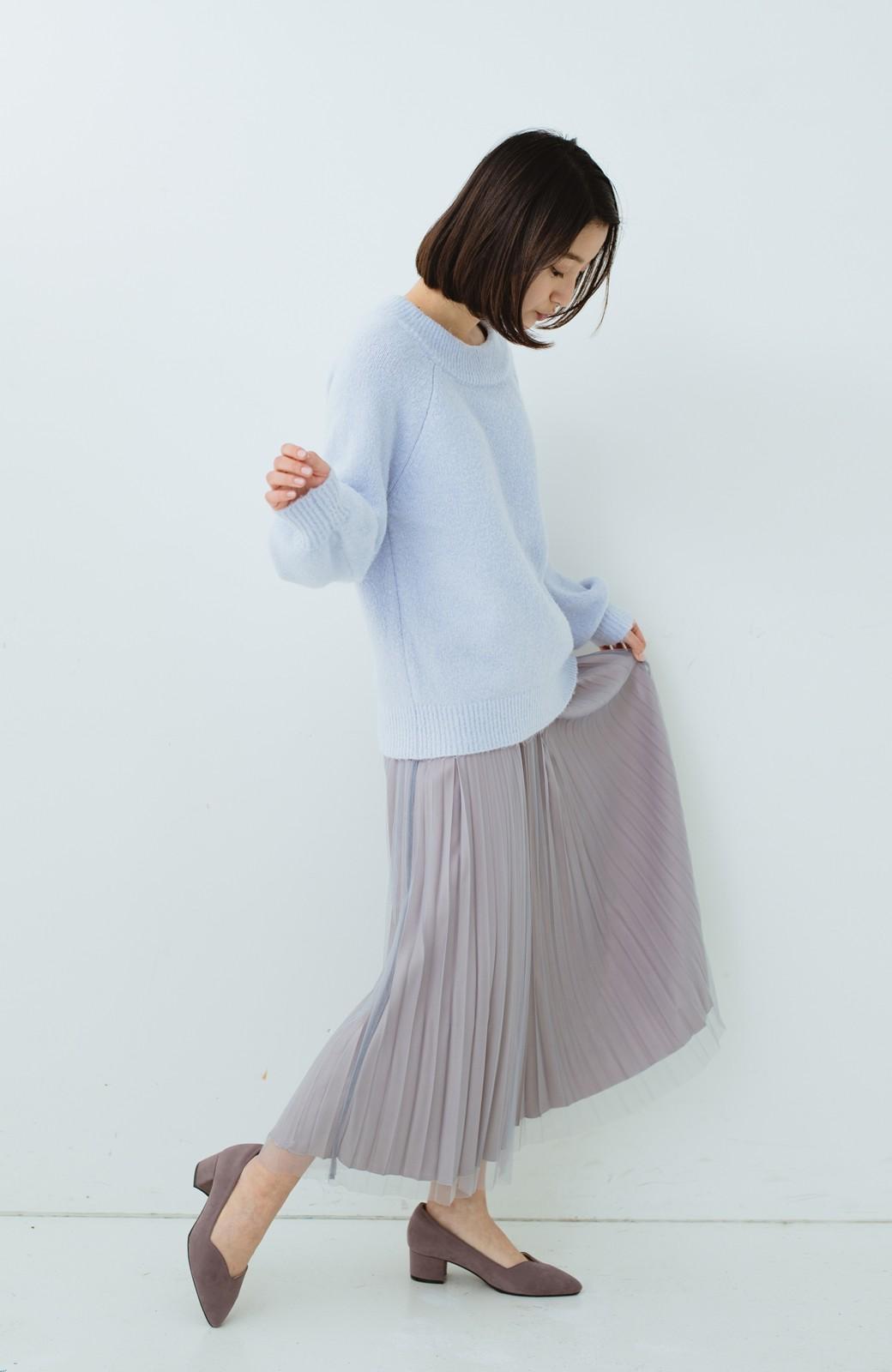 haco! どんな日も華やか気分にしてくれる 二枚仕立てのチュールプリーツスカート <ライトグレー>の商品写真20