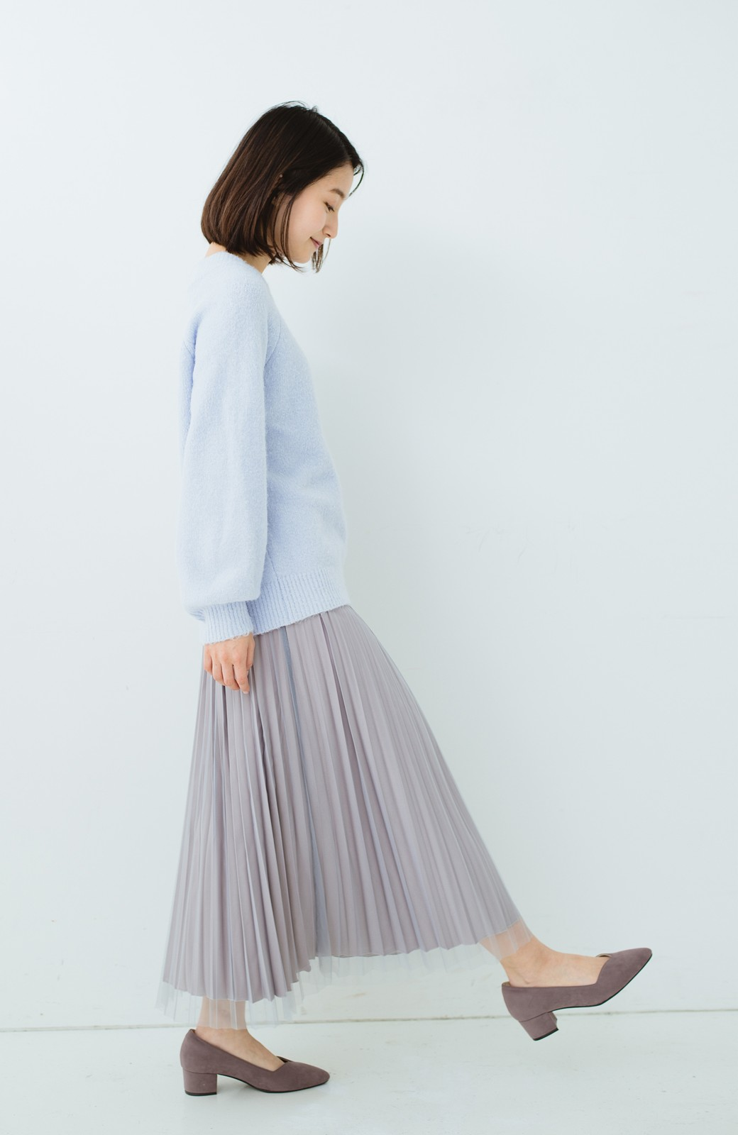 haco! どんな日も華やか気分にしてくれる 二枚仕立てのチュールプリーツスカート <ライトグレー>の商品写真21