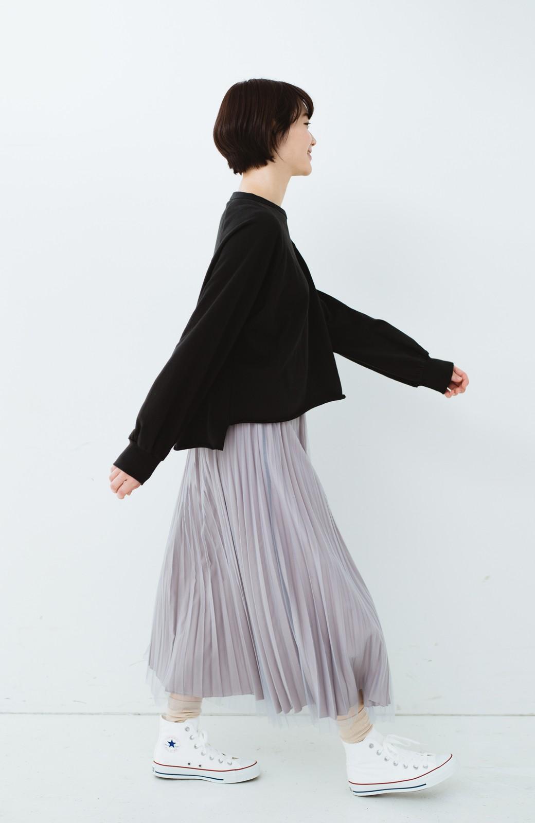 haco! どんな日も華やか気分にしてくれる 二枚仕立てのチュールプリーツスカート <ライトグレー>の商品写真22
