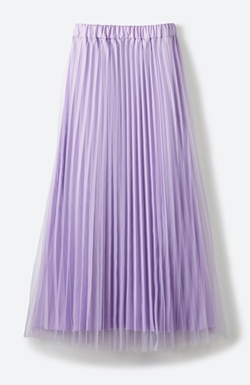 haco! どんな日も華やか気分にしてくれる 二枚仕立てのチュールプリーツスカート <ラベンダー>の商品写真