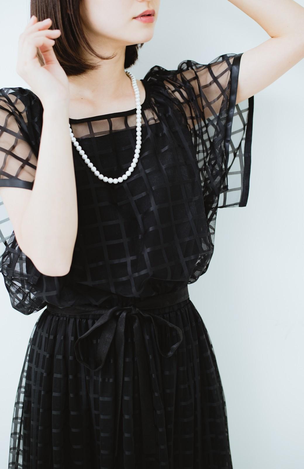 haco! 結婚式にも使えるチェックチュールワンピースセット <ブラック>の商品写真5