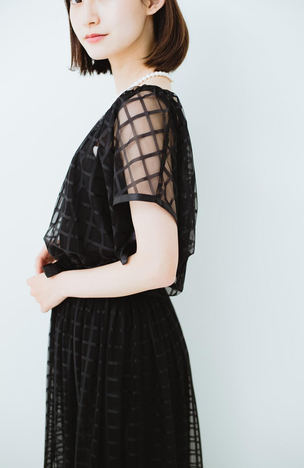 haco! 結婚式にも使えるチェックチュールワンピースセット <ブラック>の商品写真19