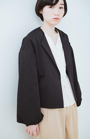 haco! ボリューム袖重ね着対策にぴったりな 袖ふんわりブルゾン <ブラック>の商品写真