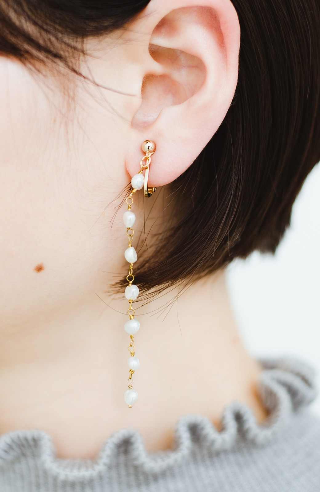 haco! 顔まわりが華やぐ 淡水パールピアス&イヤリング by que made me <ホワイト>の商品写真4