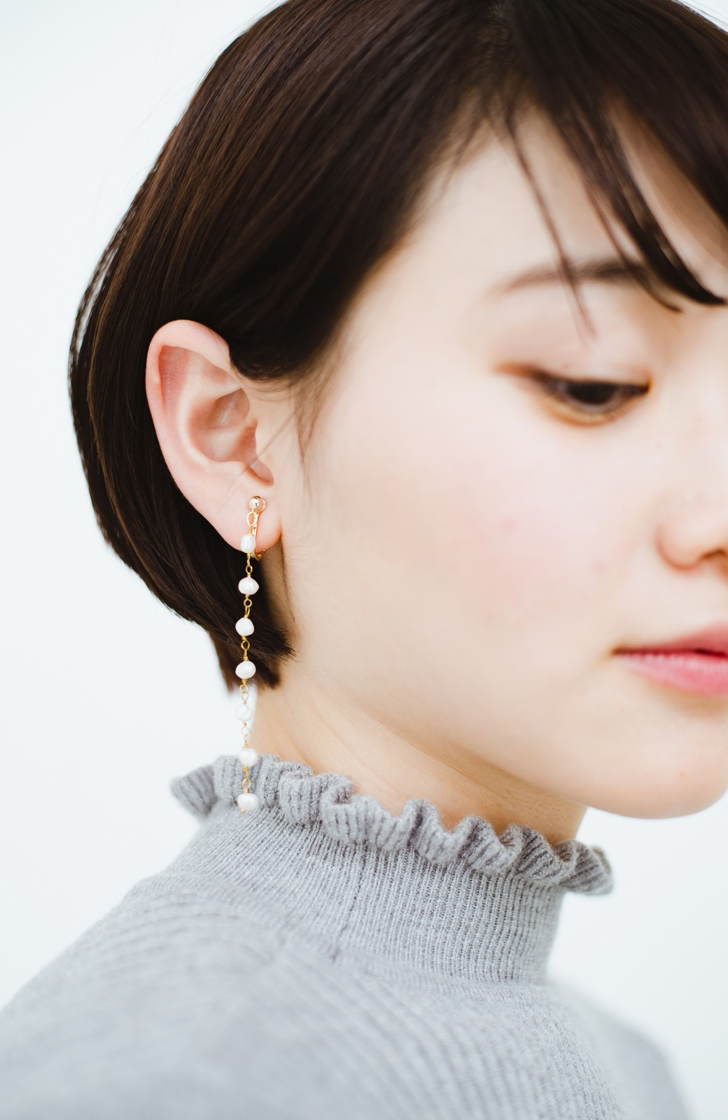 haco! 顔まわりが華やぐ 淡水パールピアス&イヤリング by que made me <ホワイト>の商品写真14