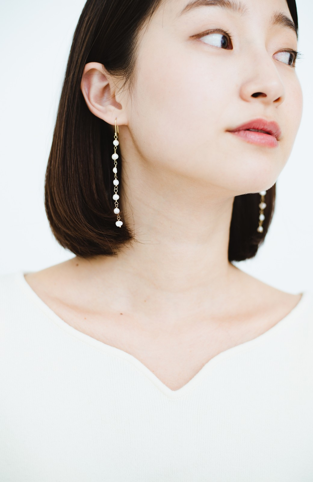 haco! 顔まわりが華やぐ 淡水パールピアス&イヤリング by que made me <ホワイト>の商品写真8