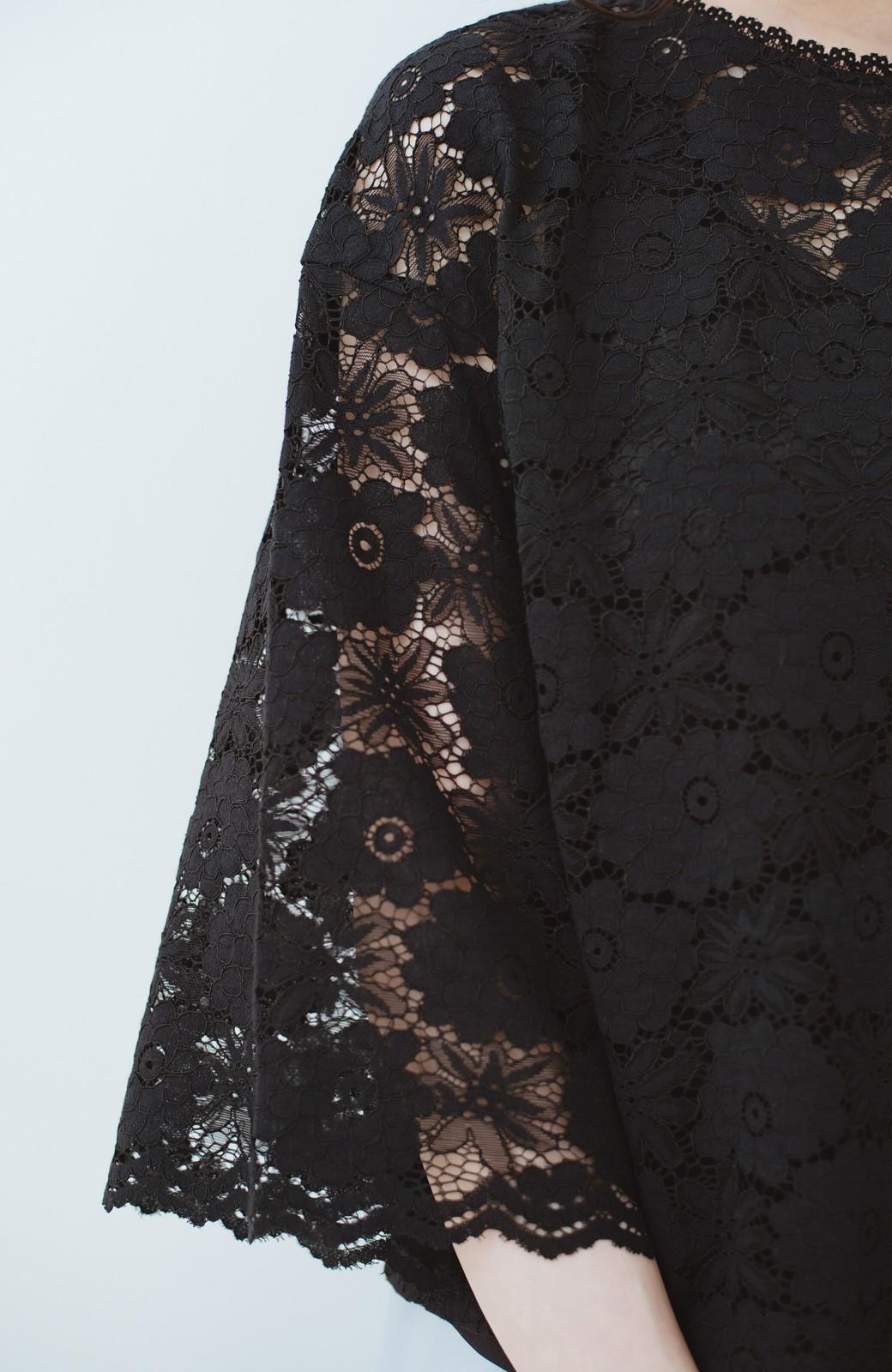 haco! ルンとした気分になる 華やかレースブラウス&タンクトップセット <ブラック>の商品写真7