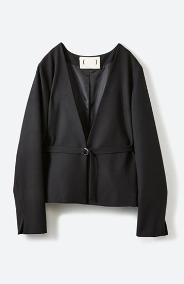 haco! 持っていると便利な 野暮ったくならないウエストベルト付きフォーマルジャケット <ブラック>の商品写真