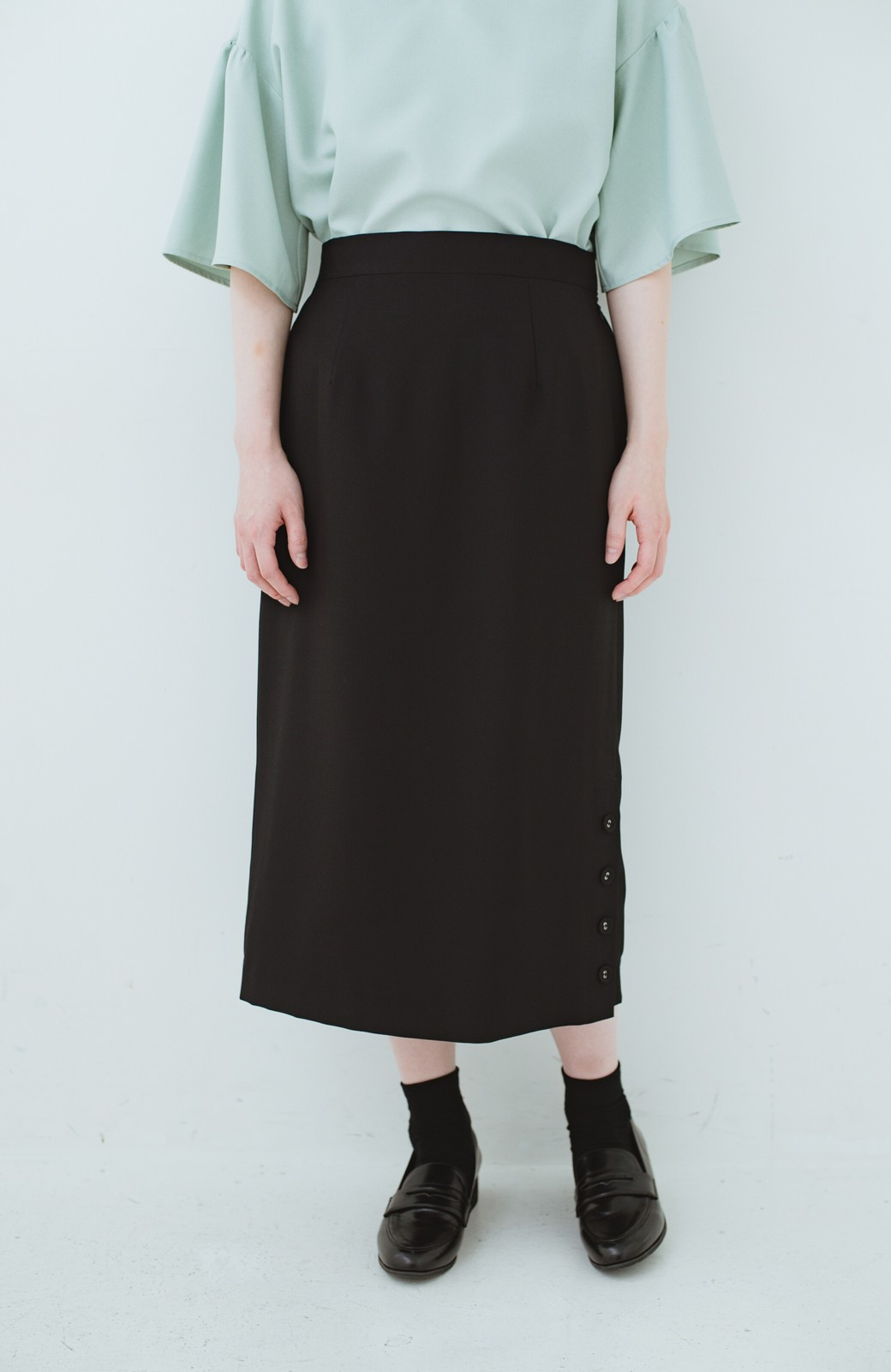 haco! 持っていると便利な 野暮ったくならないタイトスカート <ブラック>の商品写真3