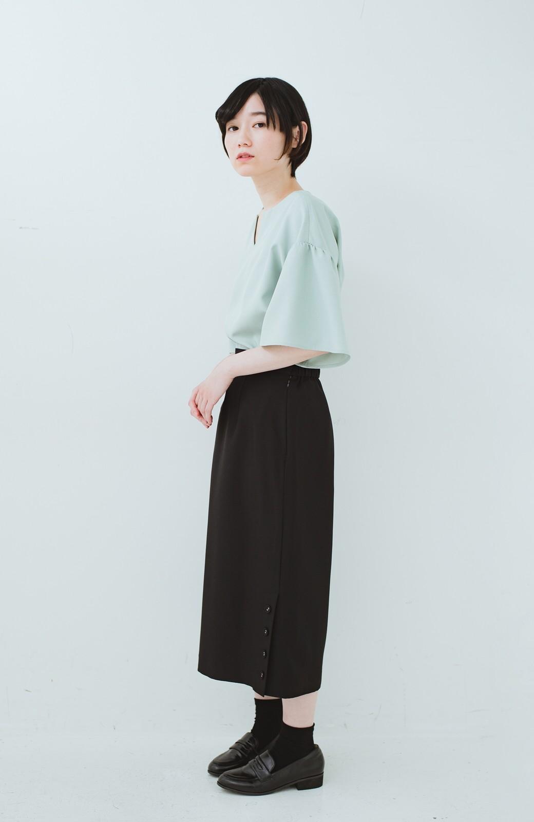 haco! 持っていると便利な 野暮ったくならないタイトスカート <ブラック>の商品写真17