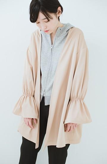 haco! ただ羽織るだけでオシャレに見える 気軽なフレアースリーブコート <ベージュ>の商品写真
