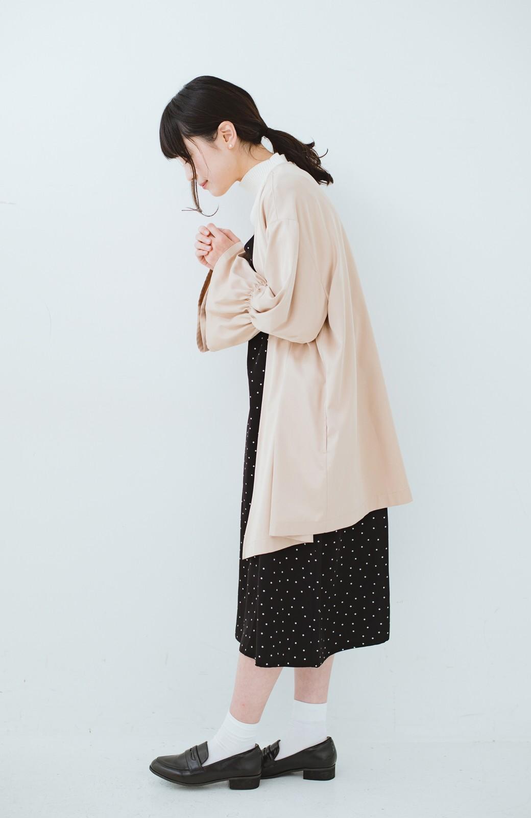 haco! ただ羽織るだけでオシャレに見える 気軽なフレアースリーブコート <ベージュ>の商品写真6