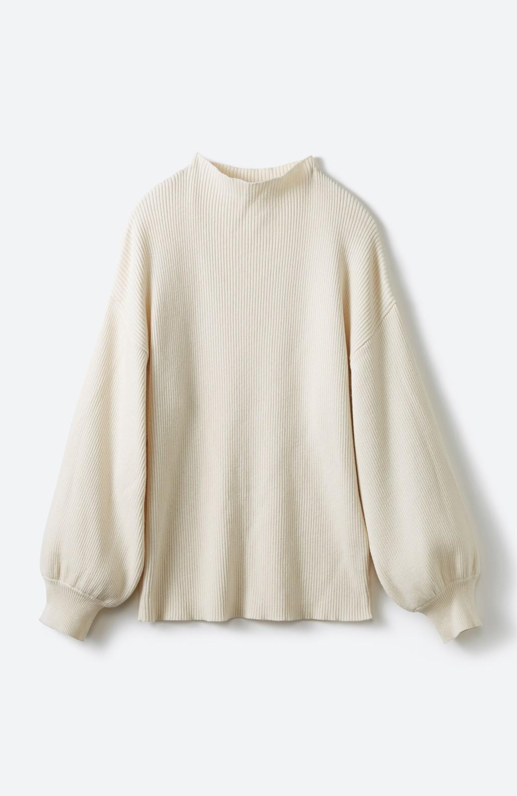 haco! シルク混素材のぷっくり袖リブニット <オフホワイト>の商品写真1