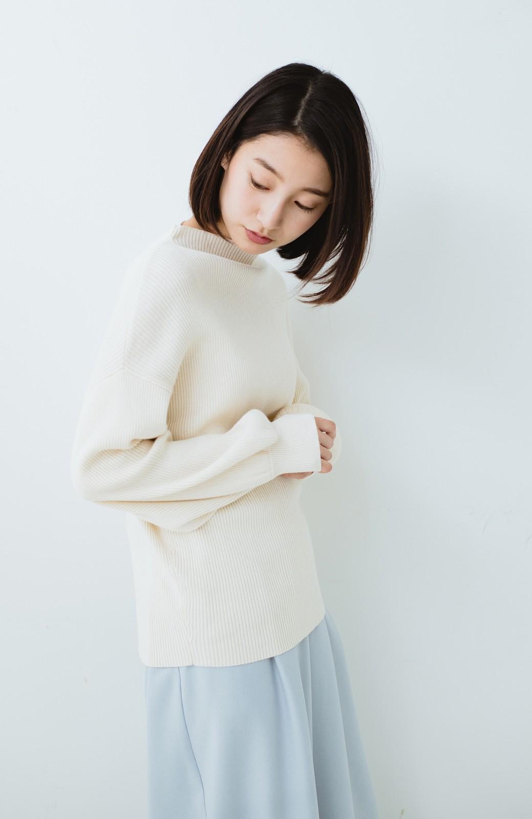 haco! シルク混素材のぷっくり袖リブニット <オフホワイト>の商品写真10