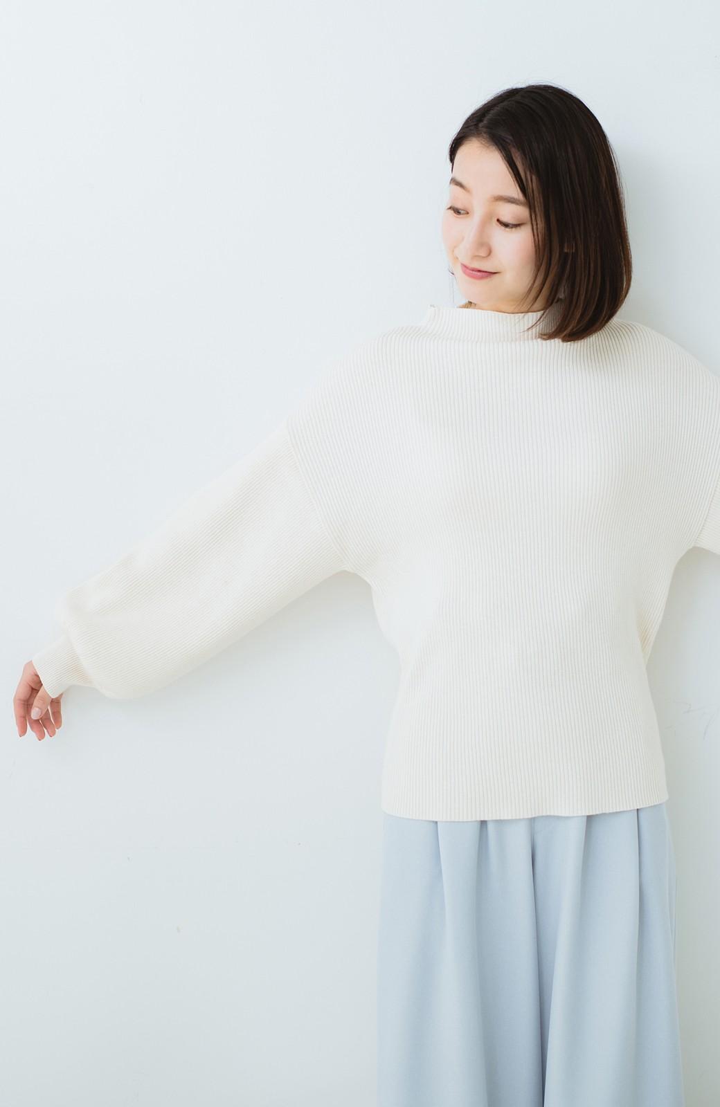 haco! シルク混素材のぷっくり袖リブニット <オフホワイト>の商品写真12