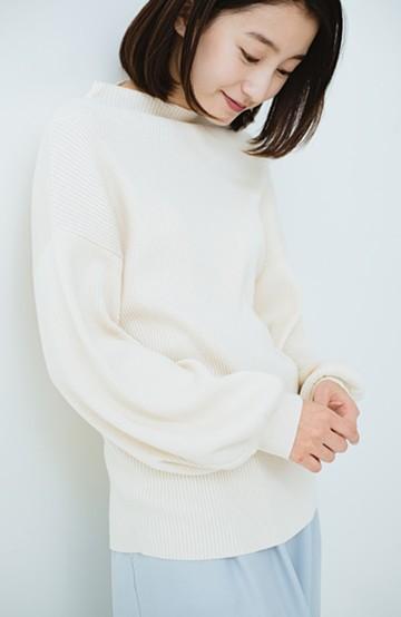 haco! シルク混素材のぷっくり袖リブニット <オフホワイト>の商品写真