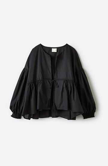 haco! ブラウス感覚で着られるふんわりギャザー羽織り <ブラック>の商品写真