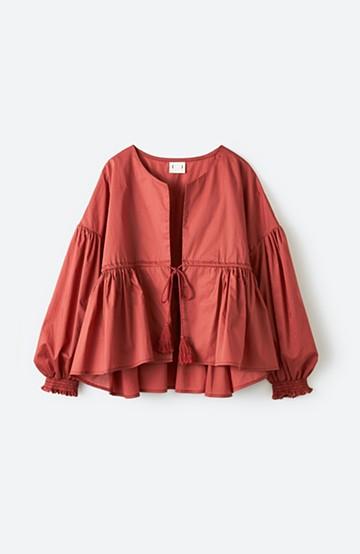 haco! ブラウス感覚で着られるふんわりギャザー羽織り <ピンク>の商品写真