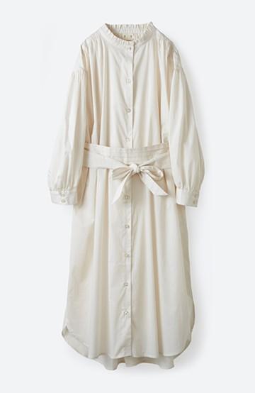haco! 羽織りにもなって着回しのきくサッシュベルト付きシャツワンピース <ホワイト>の商品写真