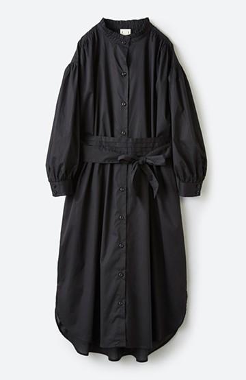 haco! 羽織りにもなって着回しのきくサッシュベルト付きシャツワンピース <ブラック>の商品写真