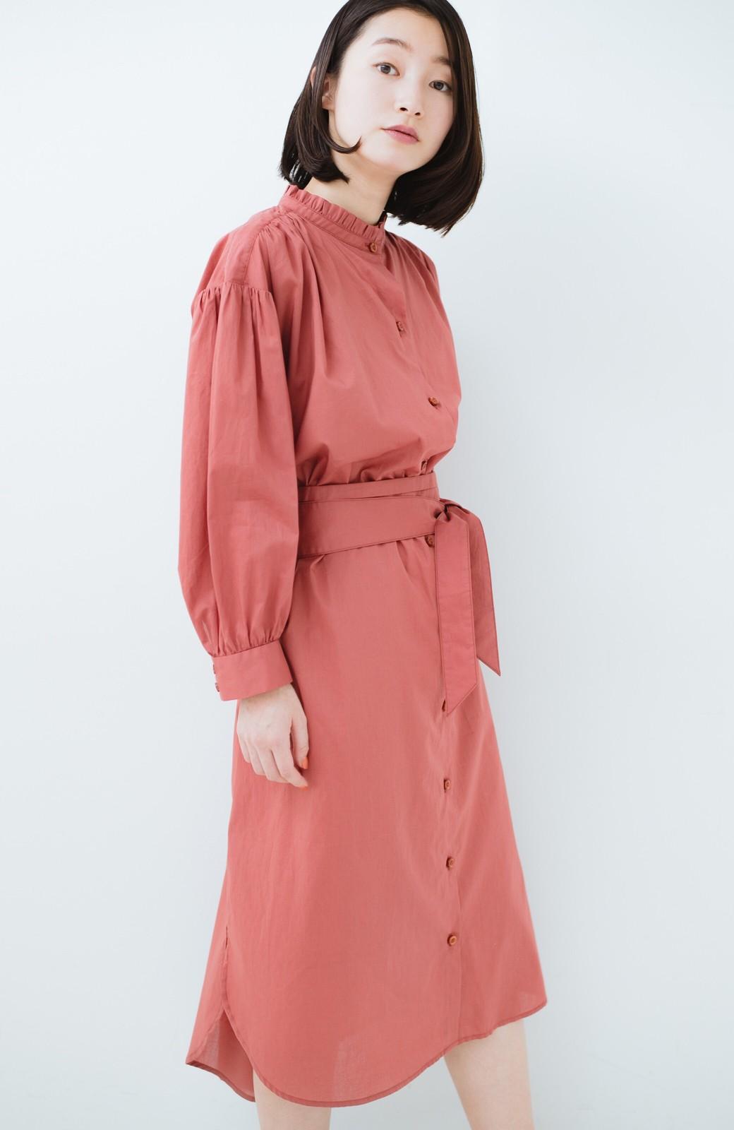 haco! 羽織りにもなって着回しのきくサッシュベルト付きシャツワンピース <ピンク>の商品写真24